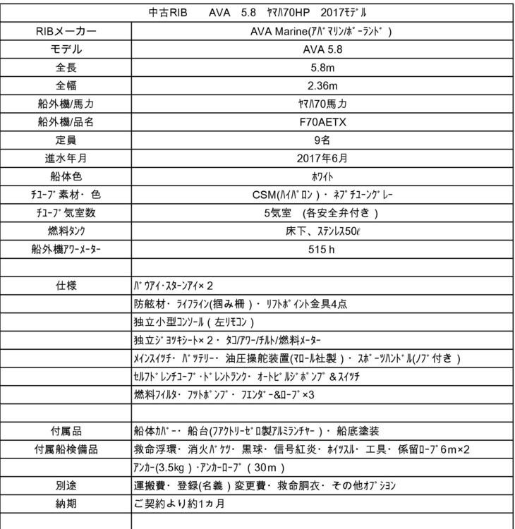 【売約済】AVA5.8