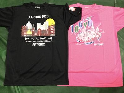 バドミントントマス&ユーバー杯記念Tシャツとオリンピック東京開催イメージTシャツ