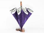 表生地がシルク西陣織(ネクタイ生地)でコーティング加工を行なっており、内張りが丹後絹織物の傘となっております。