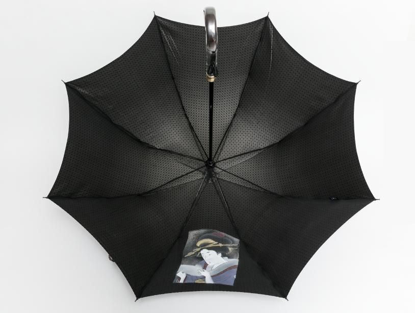 表生地がシルク西陣織(ネクタイ生地)でコーティング加工を行なっており、内張りはシフォン生地、ポリエステルプリントの傘となっております。